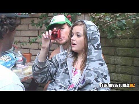 Backyard blowjob video