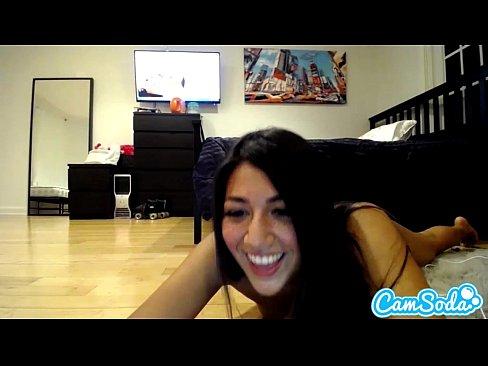 Latina teen rides dildo
