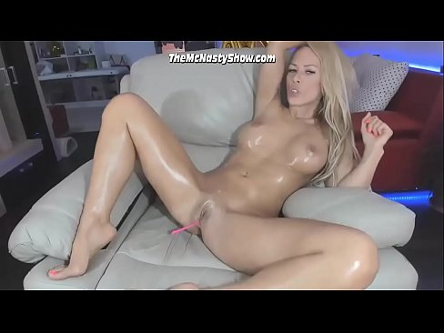 Babe With Fake Boobs and Oiled Body Looking Good