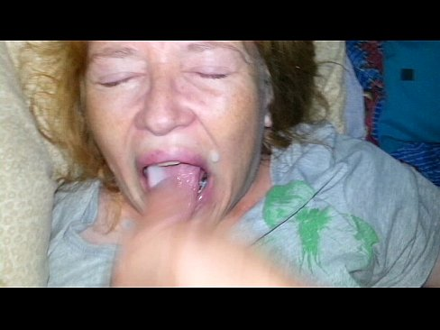 Mom eats cum