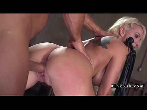Blindfolded huge tits blonde gets bondage sex, hot tights porn