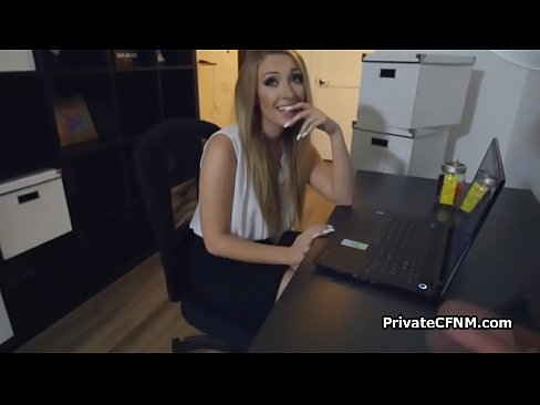 pov fucking amateur blonde secretary on table