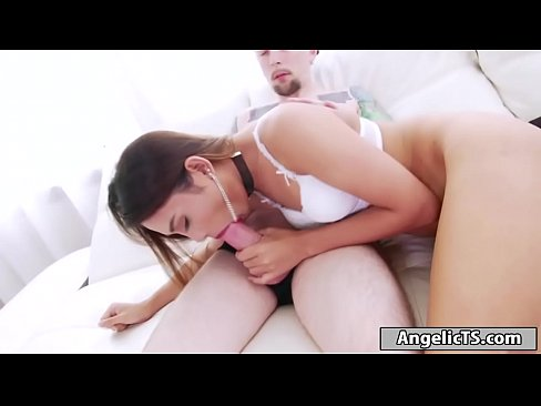 Asian tranny babe Nonny takes out her cock and starts jerking off.She then takes a guys cock in her mouth and starts sucking him off like a pro.She sets her tight ass on his big cock and anal rides it hard