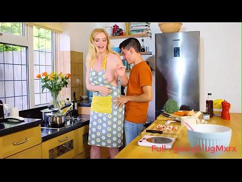 amateur milf fucks her son in kitchen