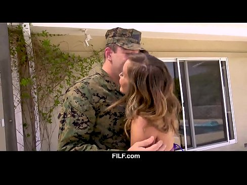 FILF –  Stepmom Welcomes Her National Hero Stepson Home