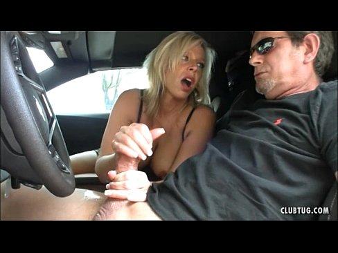 Lingerie milf jerking drivers cock