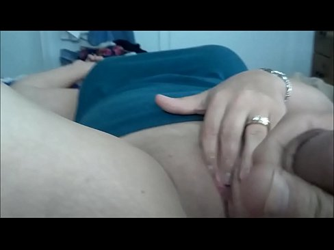 Husband cums over masturbating mature wife