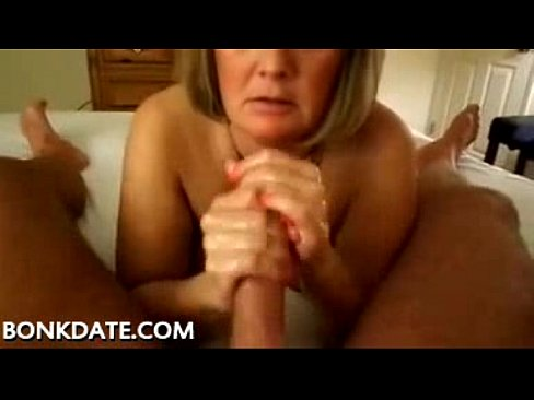 Mature makes handjob for play with cum