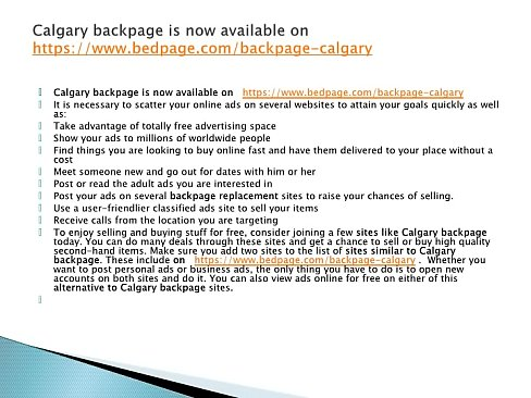 Backpage Calgary is now www.bedpage.com/backpage-calgary