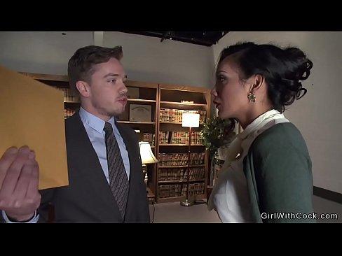 Ladyboy Secretary - Gorgeous brunette shemale secretary anal fucks her boss in ...