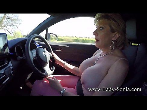 big boob amateur in vehicle
