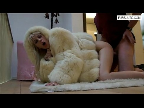 Blonde nailed in fur coat sex