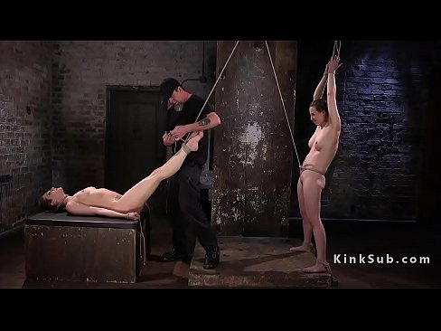 In rope Two suspension fucked slaves
