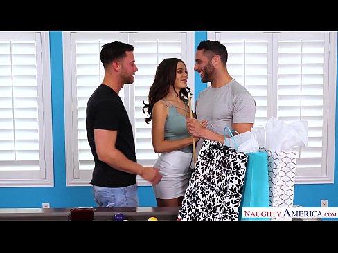 Naughty guys fucking in threesome