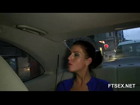 Brunette Babe cheats on her husband in a cab