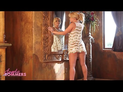 Horny Angela Sommers riding a chocolate dildo