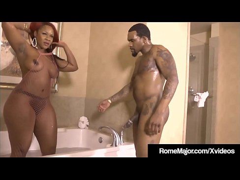 Black Bull Rome Major slips his big black cock into ebony big booty babe Gemini Lovell while bathing in a tub, then on the bathroom floor & finally in bed! Hot Ebony Boy Girl Clip!