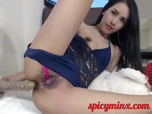 Teen Plays Masturbates with a Huge Dildo