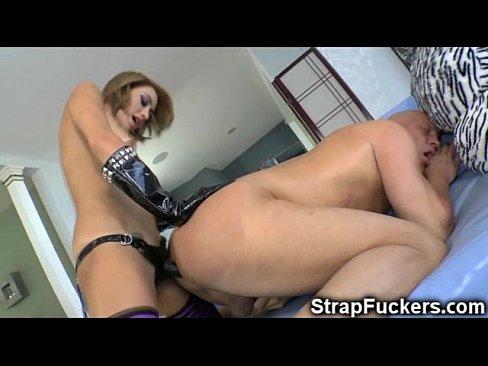 3 lesbians pegging mans ass porn