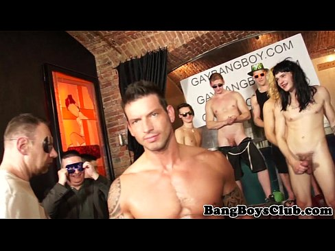 Muscular hunk barebacked during party