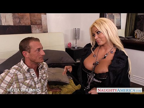 Platinum blond Nikita Von James ride a big cock
