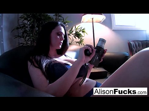 Alison gets out of her purple lingerie