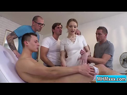 Blonde Belle Claire getting an orgy dp
