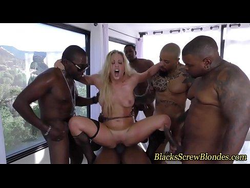 Bukkaked slut fucks bbc