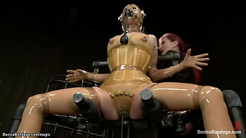 Three different hot slaves in three different scenes are bound in latex and in back arch positions are tormented and toyed by different doms