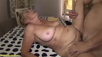 hairy bush big belly 89 years old granny gets extreme rough fucked her big cock toyboy