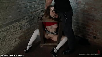 Petite brunette Asian slave Yhivi with neck trapped gets throat fucked then in rope bondage rough pussy fucked by big dick master Bill Bailey